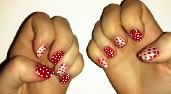 Alternating red and white spotty nail art