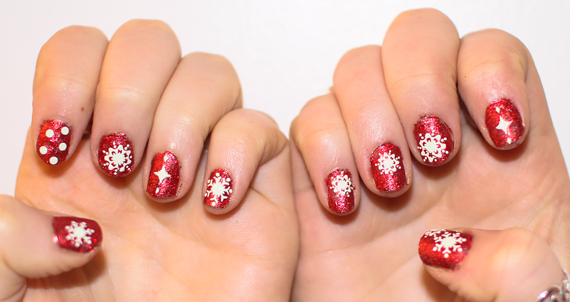 BarryM Christmas Red Glitter White Snowflake nail art
