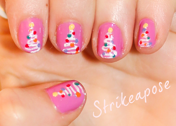 Pink Christmas Tree Nail Art