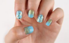 Blue and Gold Nail Art